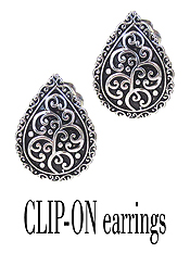 DESIGNER TEXTURED CLIP ON EARRING - TEARDROP