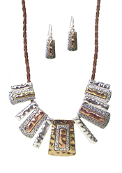 TRIBAL STYLE MULTI METAL BAR NECKLACE SET