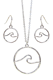 SEALIFE THEME WAVE PENDANT NECKLACE SET