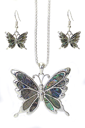ABALONE BUTTERFLY NECKLACE SET