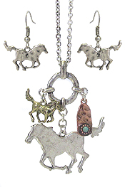 FARM ANIMAL THEME LONG NECKLACE SET - HORSE