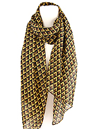 100% POLYESTER GEOMETRIC PATTERN SCARF