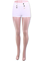 METAL BUTTON FRONT ACCENT PLAIN ELASTIC SHORTS