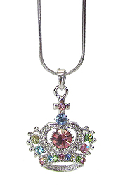 WHITEGOLD PLATING CRYSTAL CROWN PENDANT NECKLACE