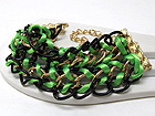 METAL FASHION CHAIN BRAIDED COLORFUL FASHION CORD AND ACRYL CHAIN BRACELET