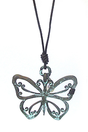 LARGE METAL  PENDANT LONG LEATHER CHAIN NECKLACE - BUTTERFLY