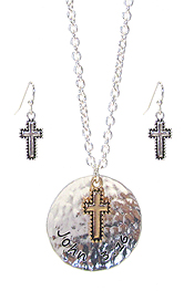 RELIGIOUS INSPIRATION DISC PENDANT NECKLACE SET - JOHN 3:16