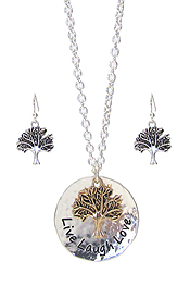 RELIGIOUS INSPIRATION DISC PENDANT NECKLACE SET - LIVE LAUGH LOVE