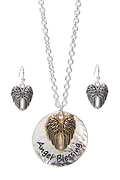 RELIGIOUS INSPIRATION DISC PENDANT NECKLACE SET - ANGEL BLESSING