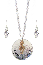 RELIGIOUS INSPIRATION DISC PENDANT NECKLACE SET - AMAZING GRACE
