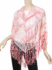 OMBRE LACE AND TASSLE PONCHO - 100% POLYESTER