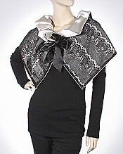 LACE AND SATIN REVERSIBLE CAPELET - 100% POLYESTER