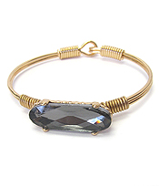 FACET GLASS STONE WIRE BANGLE BRACELET