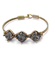 FACET GLASS TRIPLE STONE WIRE BANGLE BRACELET