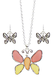 SEAGLASS BUTTERFLY PENDANT NECKLACE SET