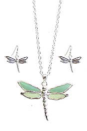 SEAGLASS DRAGONFLY PENDANT NECKLACE SET