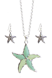 SEAGLASS STARFISH PENDANT NECKLACE SET