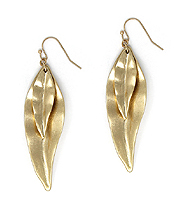 DOUBLE MEATL LEAF EARRING