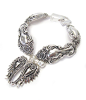 SILVER UTENSIL INSPIRED MAGNETIC BRACELET - ANGEL WING