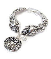SILVER UTENSIL INSPIRED MAGNETIC BRACELET - TREE OF LIFE