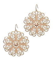 METAL FILIGREE FLOWER EARRING