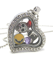 ORIGAMI STYLE FLOATING CHARM HEART LOCKET PENDANT NECKLACE - HALLOWEEN - LOCKET OPENS AND CHARMS INCLUDED