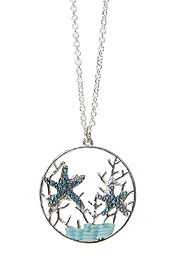 CRYSTAL STARFISH AND CORAL THEME PENDANT NECKLACE