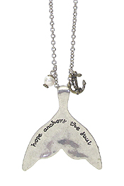 INSPIRATION MESSAGE ON MERMAID TAIL AND ANCHOR LONG NECKLACE - HOPE ANCHORS THE SOUL