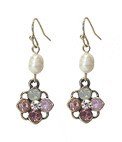 CRYSTAL AND FRESHWATER PEARL EARRING