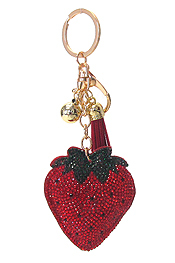 MULTI CRYSTAL LARGE PUFFY CUSHION KEY CHAIN - STRAWBERRY