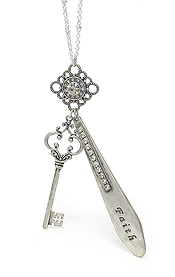 RELIGIOUS INSPIRATION BAR AND KEY PENDANT LONG NECKLACE - FAITH