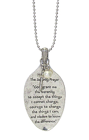 RELIGIOUS INSPIRATION MESSAGE ON SPOON HEAD LONG NECKLACE - SERENITY PRAYER