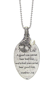 RELIGIOUS INSPIRATION MESSAGE ON SPOON HEAD LONG NECKLACE - TREE OF LIFE
