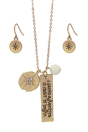 INSPIRATION MESSAGE PENDANT NECKLACE SET - A GRAND ADVENTURE IS ABOUT TO BEGIN
