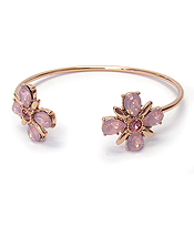 CRYSTAL FLOWER TIP WIRE BANGLE BRACELET