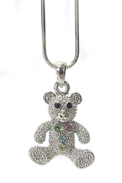 WHITEGOLD PLATING CRYSTAL TEDDY BEAR PENDANT NECKLACE