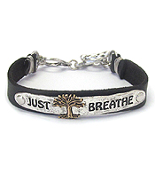 INSPIRATION LEATHER TOGGLE BRACELET - JUST BREATHE