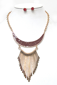 MULTI FINE METAL WIRE DROP TRIBAL STYLE NECKLACE SET