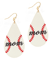 SPORT THEME LEATHER EARRING - BASEBALL MOM