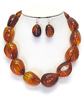 AMBER STONE NECKLACE SET