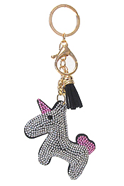 MULTI CRYSTAL LARGE PUFFY CUSHION KEY CHAIN - UNICORN
