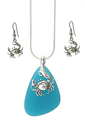 SEALIFE THEME SEA GLASS PENDANT NECKLACE SET - CRAB