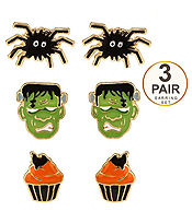 HALLOWEEN THEME 3 PAIR EARRING SET - SPIDER