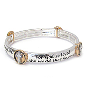 RELIGIOUS INSPIRATION MESSAGE STRETCH BRACELET - JOHN 3:16
