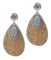 TURQUOISE AND CORK TEARDROP EARRING