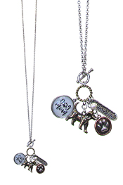 DOG LOVERS MULTI CHARM CABOCHON LONG NECKLACE - DOG MOM