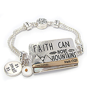 RELIGIOUS INSPIRATION MAGNETIC BRACELET - AS SMALL AS FAITH CAN MOVE MOUNTAINS