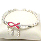 PINK RIBBON AND INSPIRATIONAL PRAYER MESSAGE STRETCH BRACELET - BREAST CANCER AWARENESS