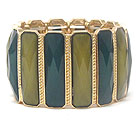 FACET GLASS BAR LINK STRETCH BRACELET