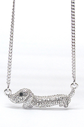 WHITEGOLD PLATING CRYSTAL STUD WEENIE DOG PENDANT NECKLACE